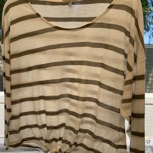 Olive Stripped Blouse with 3/4 sleeve